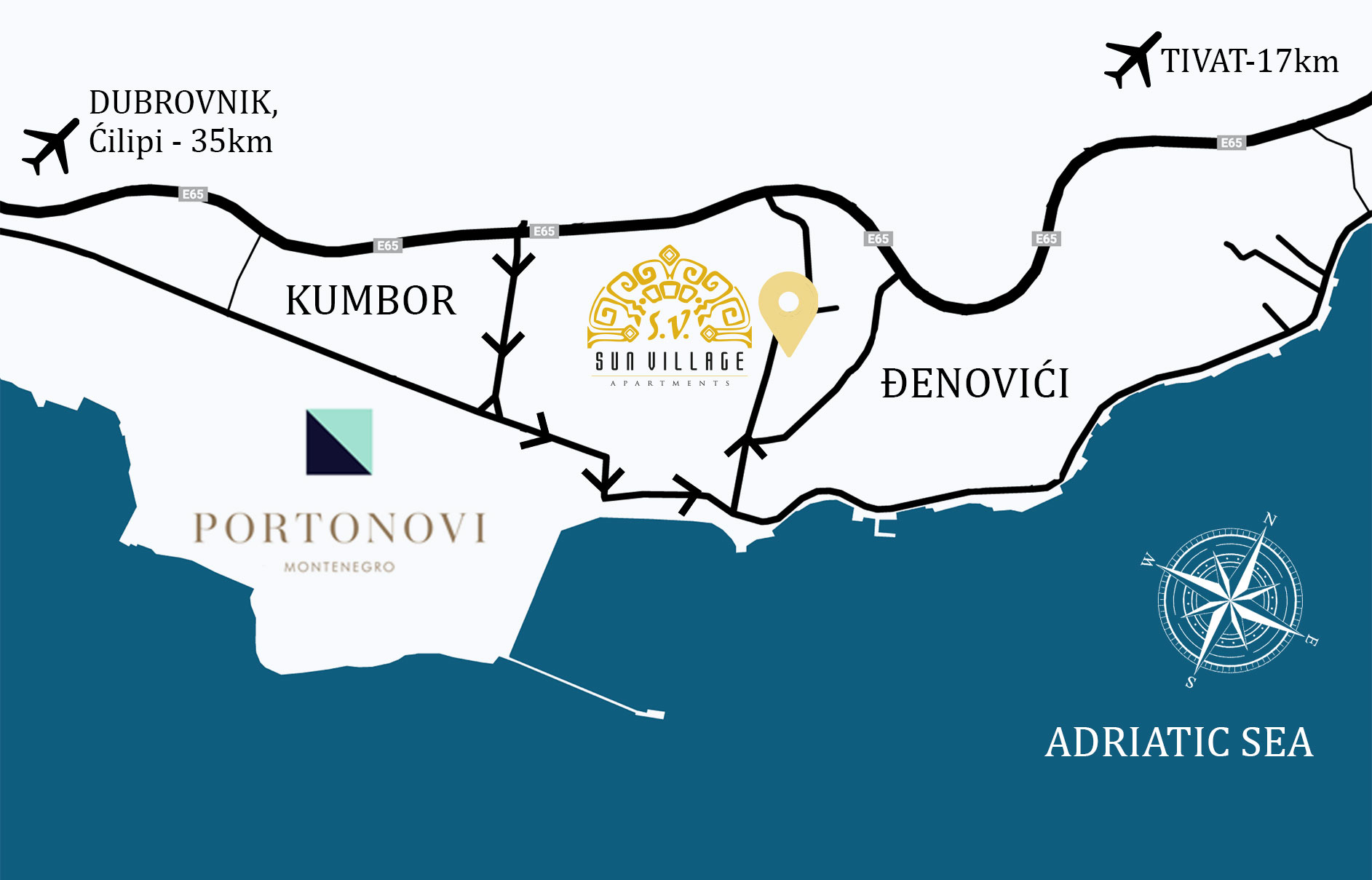 map of Djenovići and surrounding places